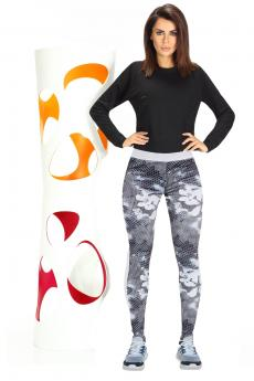 Női sportos leggings Code white-grey